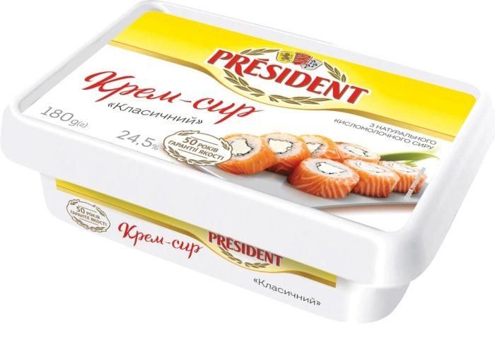 """Продукт сирковий термізований 24,5% Президент """"Крем-сир"""" класичний"""""""