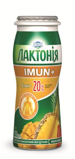 """Напій кисломолочний йогуртний """"Мультифрукт"""" Чорниця 1,5% Лактонія Імун+"""