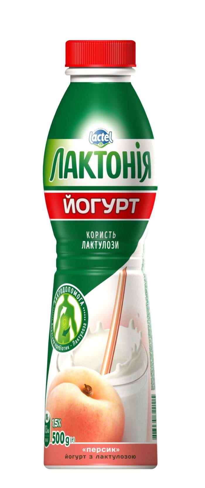 """Йогурт з наповнювачем Персик з лактулозою 1,5%, """"Лактонія"""""""