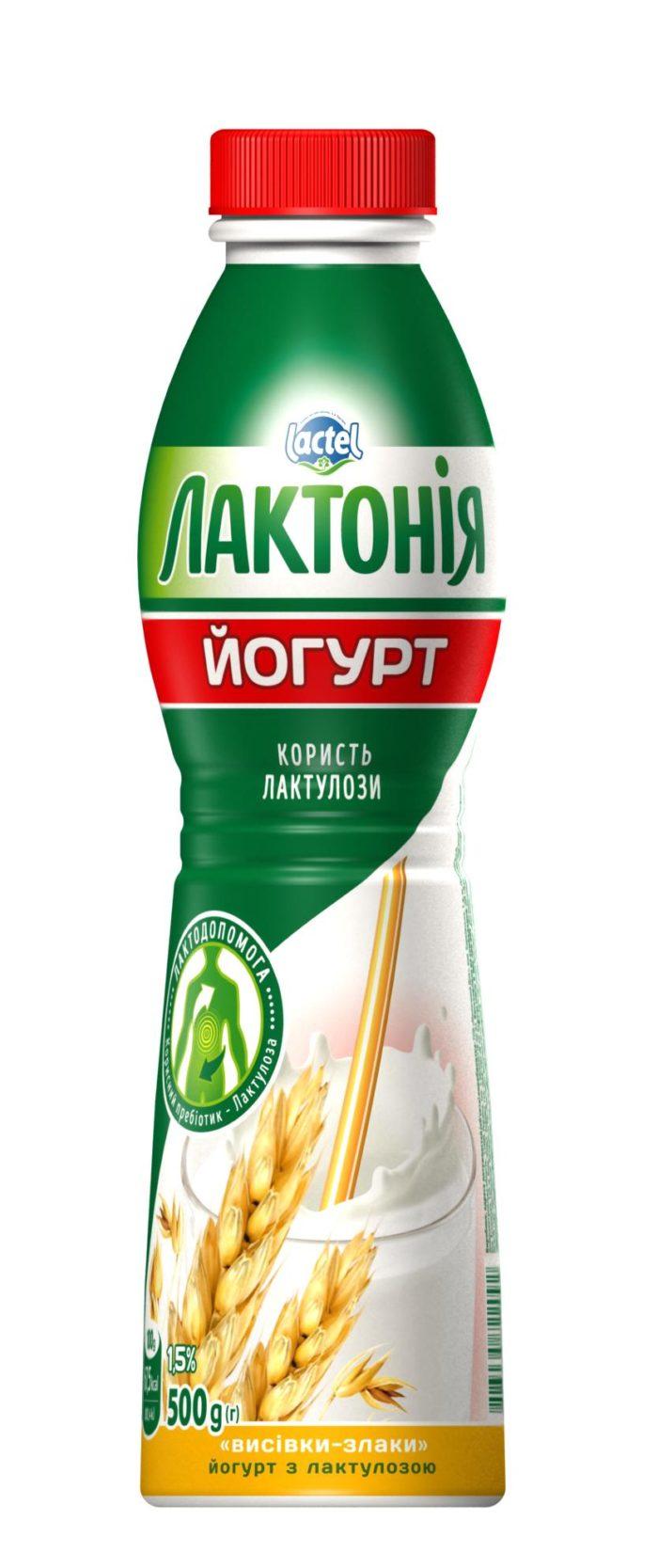 """Йогурт з наповнювачем Висівки-Злакі з лактулозою 1,5%, """"Лактонія"""""""