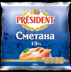 Сметана Президент 15%