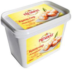"""Продукт сирковий термізований 24,5% Президент """"Крем-сир"""" класичний"""