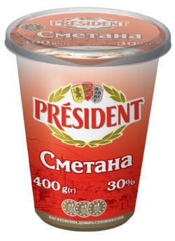 Сметана Президент 30%