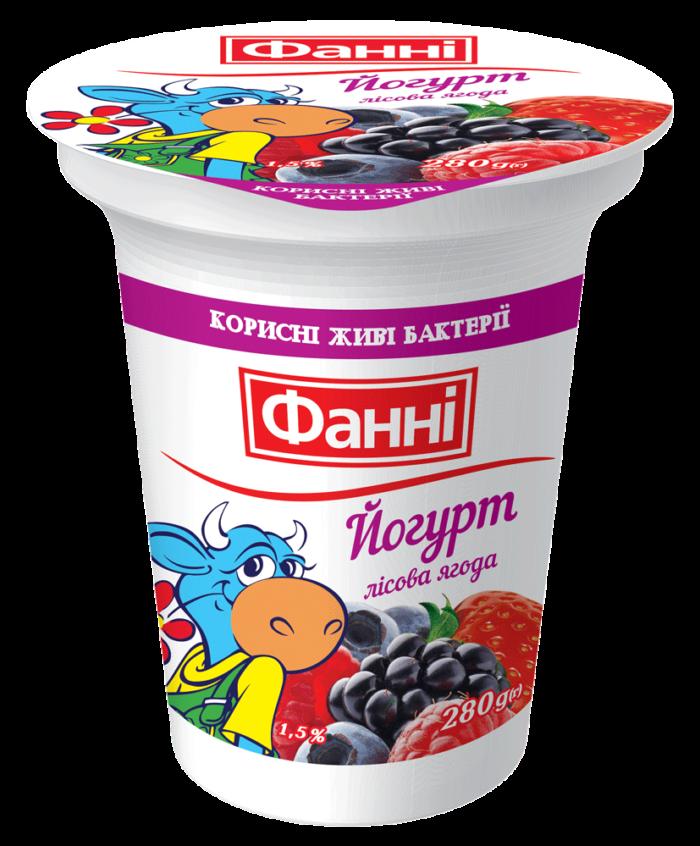 Йогурт 1,5%  з лісовою ягодою