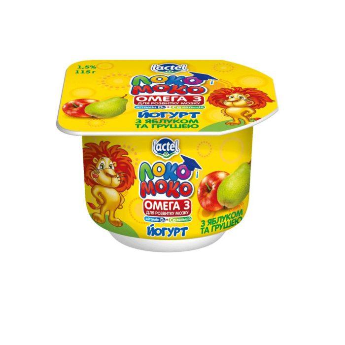 Йогурт 1,5% Локо Моко з яблуком та грушею, кальцієм, Омегою 3 та вітаміном Д3