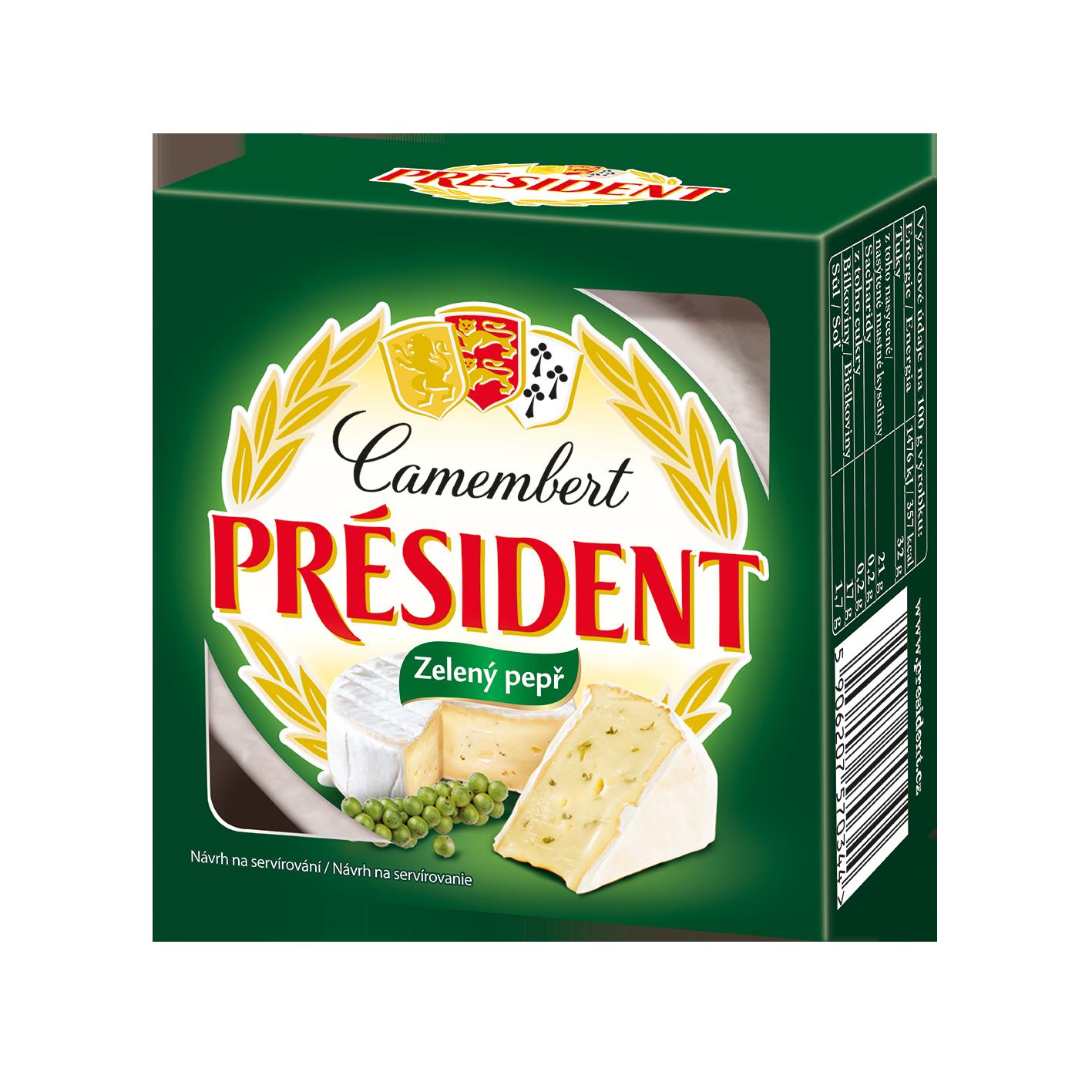 Сир м'який Камамбер з зеленим перцем 60% Президент