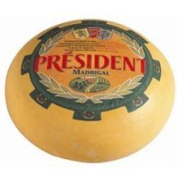 Сир твердий Мадригал 48% Президент