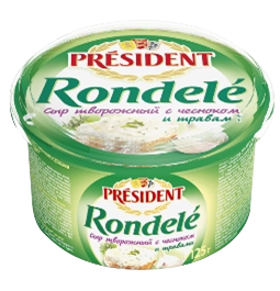 Сир м'який кисломолочний з часником і травами Ронделе 70% Президент