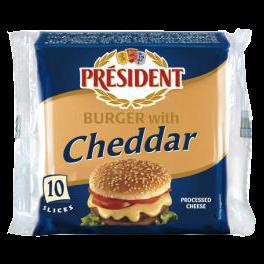 """Сир плавлений """"з Чеддером"""" для сендвічів, 40% Президент"""