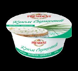 Крем сирковий термізований 4% Президент «Зелена цибуля»
