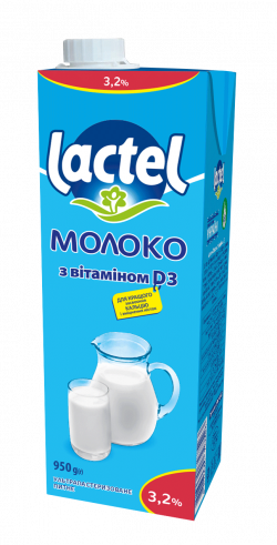 Молоко ультрапастеризоване Лактель з  вітаміном D3, 3,2%