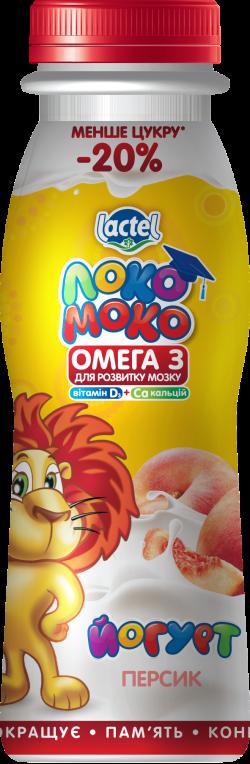 """Йогурт 1,5 %  """"Персик"""", з кальцієм, Омегою 3 та вітаміном Д3"""