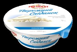 Сир кисломолочний 9% Президент зі сметаною солоний