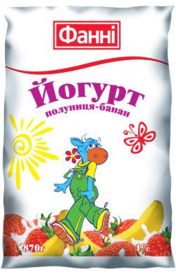 Йогурт питний 1% полуниця-банан