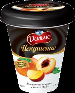 """Йогурт Десертний """"Искушение"""" 2,5% манго-персик Дольче"""