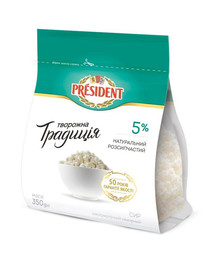 "Curd ""Tworozhna Tradicia"" President 5% (flowpack 0,350 kg)"