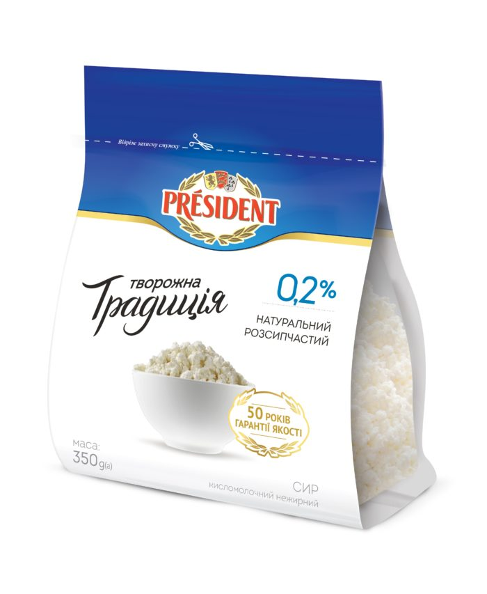 "Curd ""Tworozhna Tradicia"" President 0,2% (flow-pack 0,350 kg)"