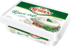 Cream-cheese President with  dill and parsley 18% fat (bath 0,180 kg)