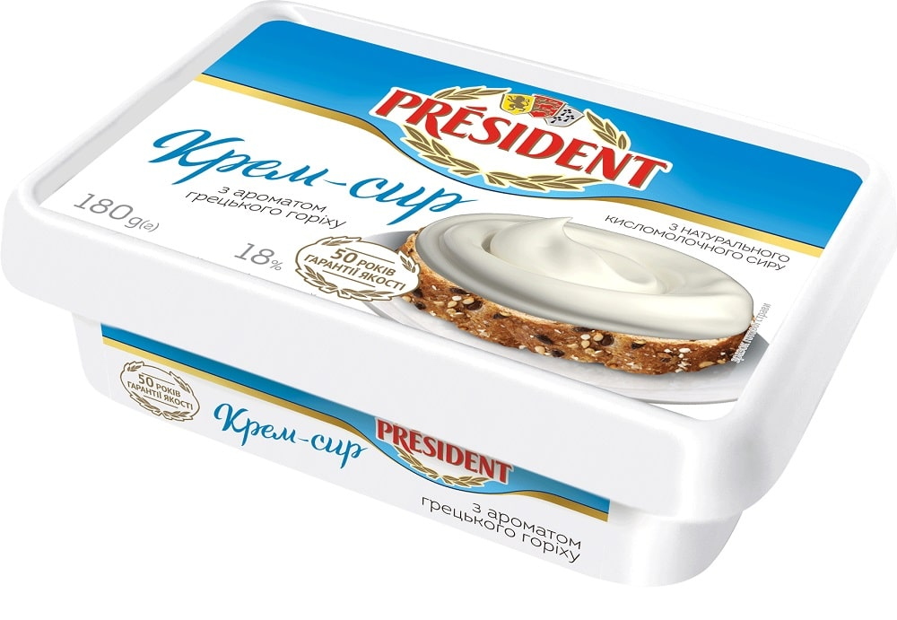 Cream-cheese President with walnut aroma 18% fat (bath 0,180 kg)