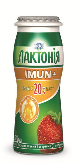 Dairy drink  enriched with Vitamin C and prebiotic Rhamnosus Strawberry  Lactonia Imun+