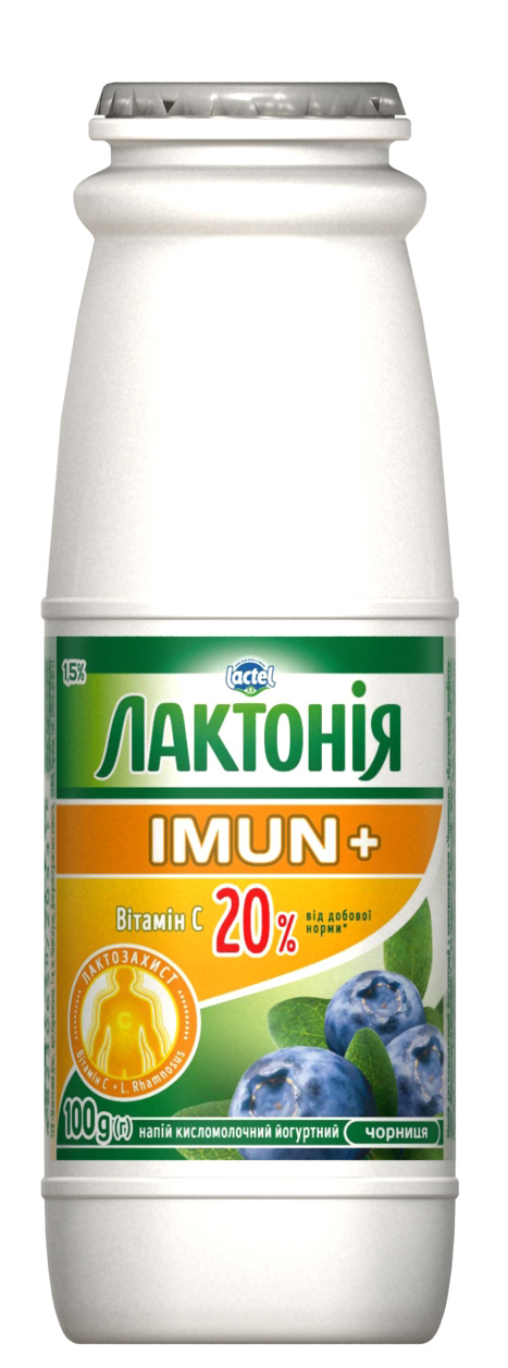 Dairy drink  enriched with Vitamin C and prebiotic Rhamnosus Blueberry  Lactonia Imun+