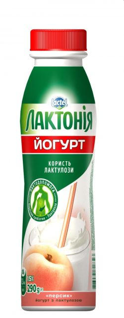 "Yogurt  Peach with lactulose"" 1,5%,  ""Lactonia"" (Bottle 0,290)"