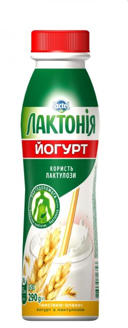 "Yogurt  Bran-cereals with lactulose"" 1,5%,  ""Lactonia"" (Bottle 0,290)"