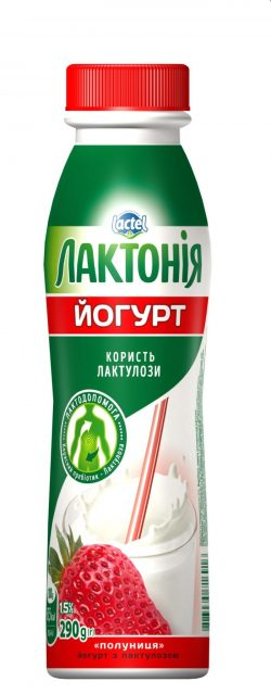 "Yogurt Strawberry with lactulose 1,5%,  ""Lactonia"" (Bottle 0,290)"
