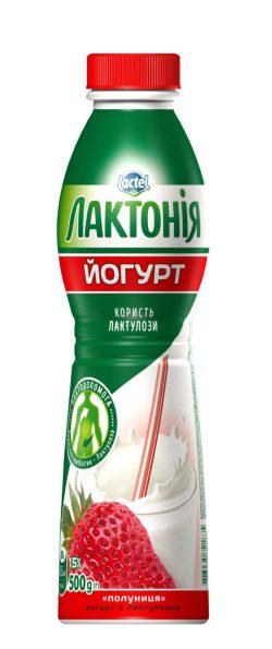 "Yogurt Strawberry with lactulose 1,5%,  ""Lactonia"" (Bottle 0,500)"