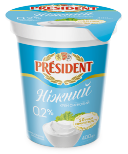 "Cream cheese thermised 0.2% ""Nizhniy"" President (cup 0,400 kg)"