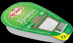 """Curd """"Tworozhna Tradicia"""" President 9% (bath 0,250 kg)"""