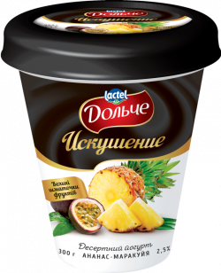 "Dessert yoghurt ""Temptation"" 2,5% Pineapple-Passion Fruit Dolce (cup 0,300 kg)"