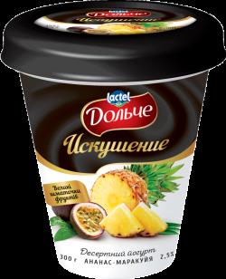 """Dessert yoghurt """"Temptation"""" 2,5% Pineapple-Passion Fruit Dolce (cup 0,300 kg)"""