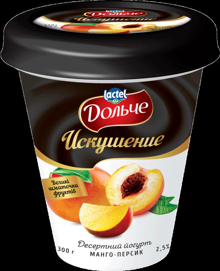 "Dessert yoghurt ""Temptation"" 2,5% Mango-Peach Dolce (cup 0,300 kg)"