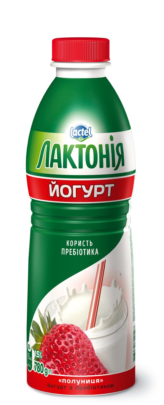 "Yogurt Strawberry with lactulose 1,5%,  ""Lactonia"" (Bottle 0,780)"