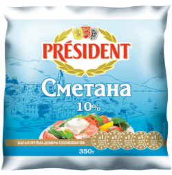 Sour Cream President 10% (Cup 0,350 kg)