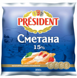 Sour Cream President 15% (Cup 0,350 kg)