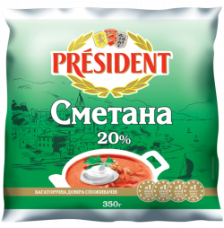 Sour Cream President 20% (Cup 0,350 kg)