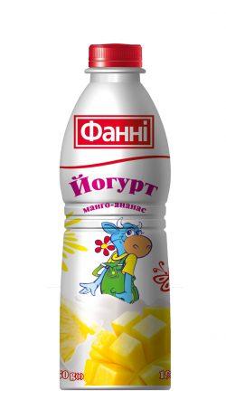 Drinkable yoghurt 1% Mango-ananas Fanni (bottle 0,750 kg)