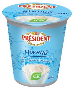 "Cream cheese thermised 0.2% ""Nizhniy"" President (cup 0,400 kg)"