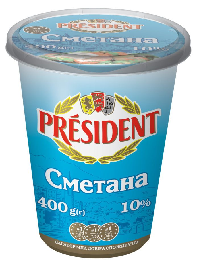 Sour Cream President 10% (Cup 0,400 kg)
