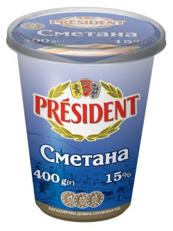 Sour Cream President 15% (Cup 0,400 kg)