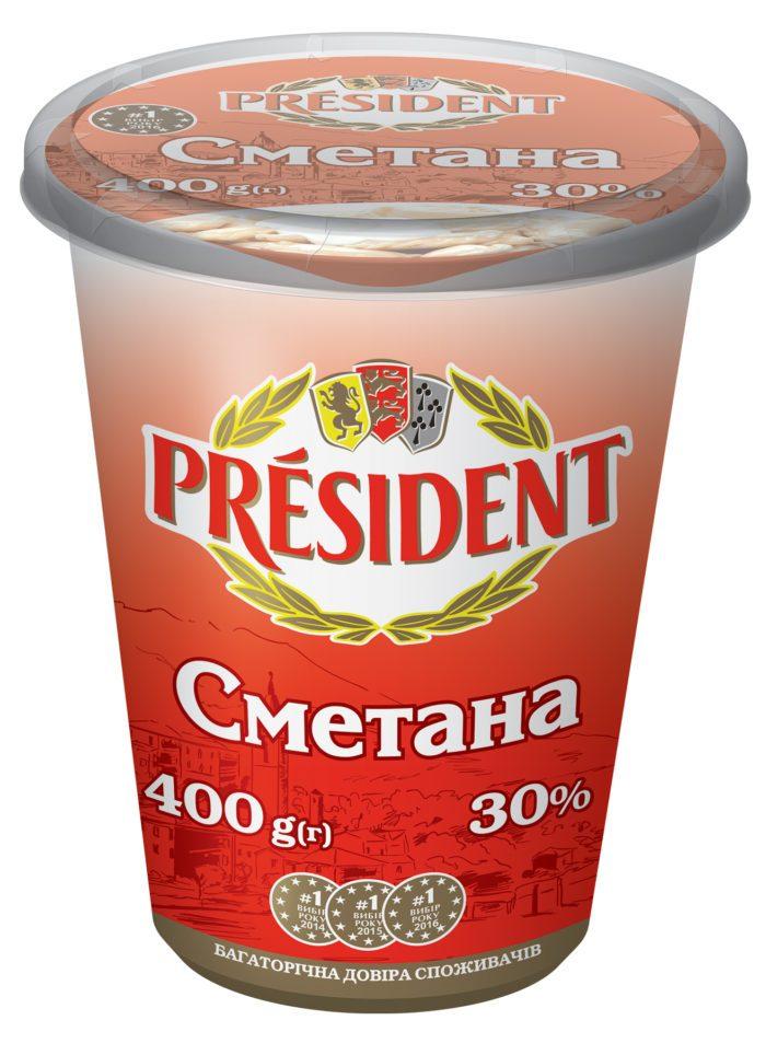 Sour Cream President 30% (Cup 0,400 kg)