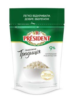 "Curd ""Tworozhna Tradicia"" President 9% (doypack 1,000 kg)"
