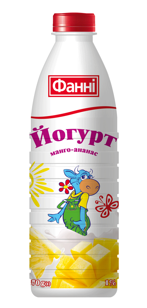 Drinkable yoghurt 1% Mango-ananas Fanni (bottle 0,870 kg)