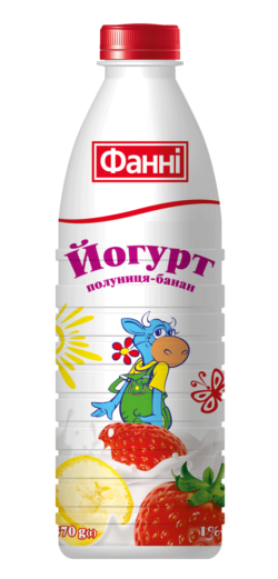 Drinkable yoghurt 1% Strawberry-Banana Fanni (bottle 0,870 kg)