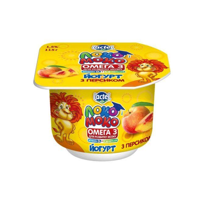 Yoghurt 1,5% Peach, with Calcium, Omega3 and Vitamin D3 Loko Moko (cup 0,115 kg)