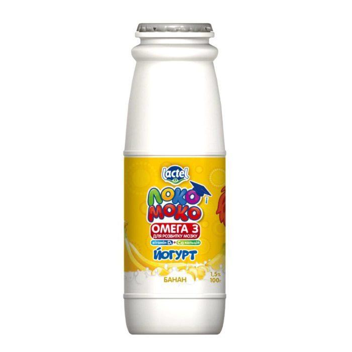 Drinkable yoghurt 1,5% Banana, with Calcium, Omega3 and Vitamin D3 Loko Moko (bottle 0,100 kg)