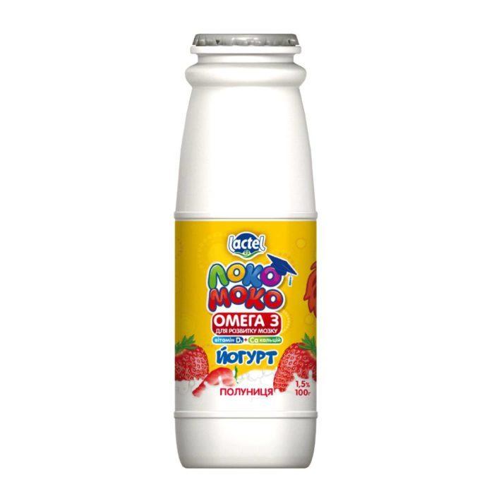 Drinkable yoghurt 1,5% Strawberry, with Calcium, Omega3 and Vitamin D3 Loko Moko (bottle 0,100 kg)