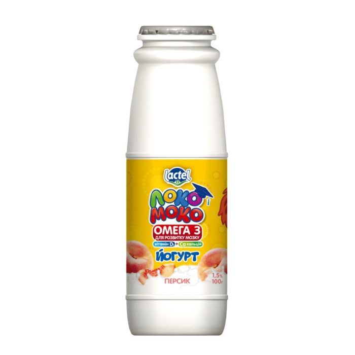 Drinkable yoghurt 1,5% Peach, with Calcium, Omega3 and Vitamin D3 Loko Moko (bottle 0,100 kg)